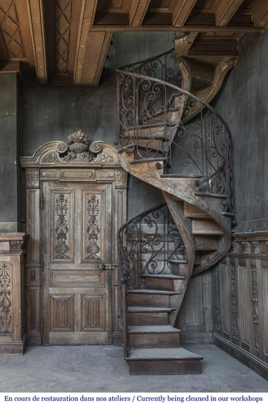 Beautiful Spiral Staircase With A Wrought Iron Railing Decorated | Wrought Iron Spiral Staircase | Wood | Gothic | Small | Mezzanine | Internal