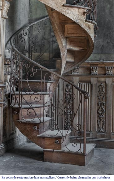 Beautiful Spiral Staircase With A Wrought Iron Railing Decorated   Wrought Iron Circular Staircase   Wooden   Living Room   Artistic   Rail   Modern