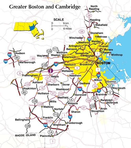 Boston Map Metro Area