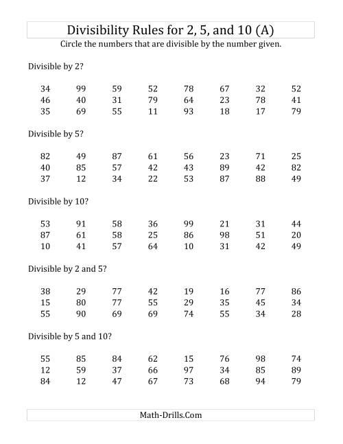 Divisibility Rules 2 5 Nd 10 2 Digit Numbers