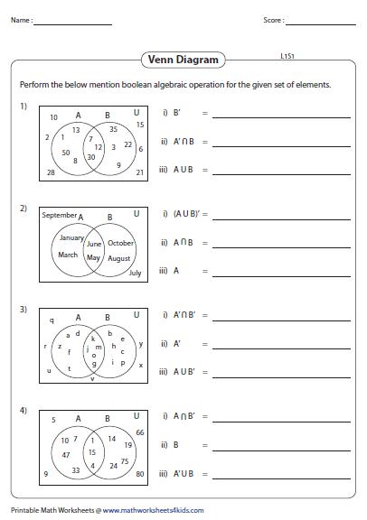 Reading Venn Diagram Worksheet