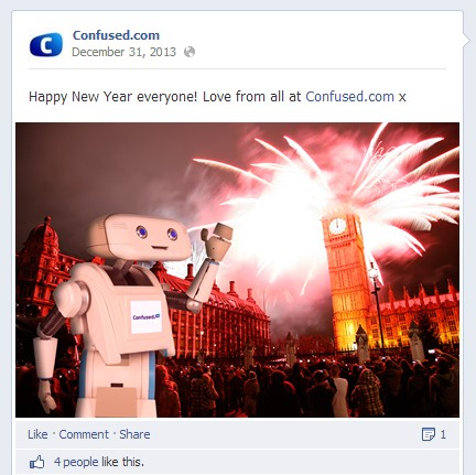 10 Posts Brands Did to  Celebrate  New Year on Facebook   Social     Confused com New Year 2014 Facebook Post