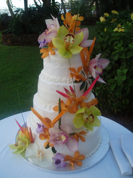 Maui Wedding Cake Photos Maui Wedding Cakes   Flower Cakes