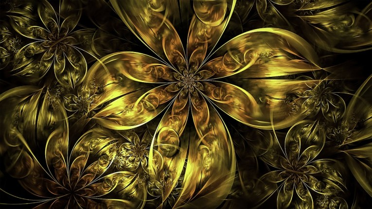 Free photo Gold Flowers Golden Floral Fractal Metallic   Max Pixel Fractal  Floral  Gold  Golden  Metallic  Flowers