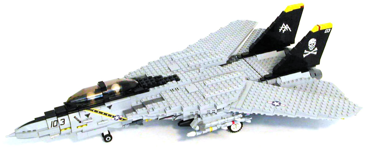 MECHANIZED BRICK Custom LEGO F 14 Tomcat Plane Kit MECHANIZED BRICK custom moc LEGO F 14 Tomcat modern era fighter jet  airplane set with