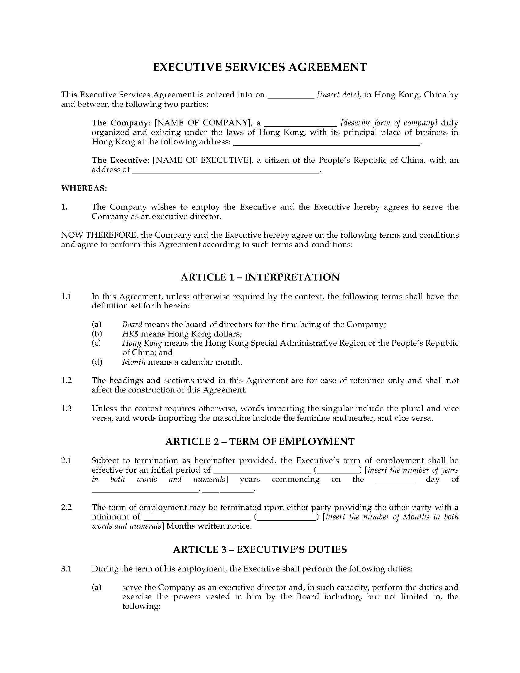 Hong Kong Executive Services Agreement Legal Forms And