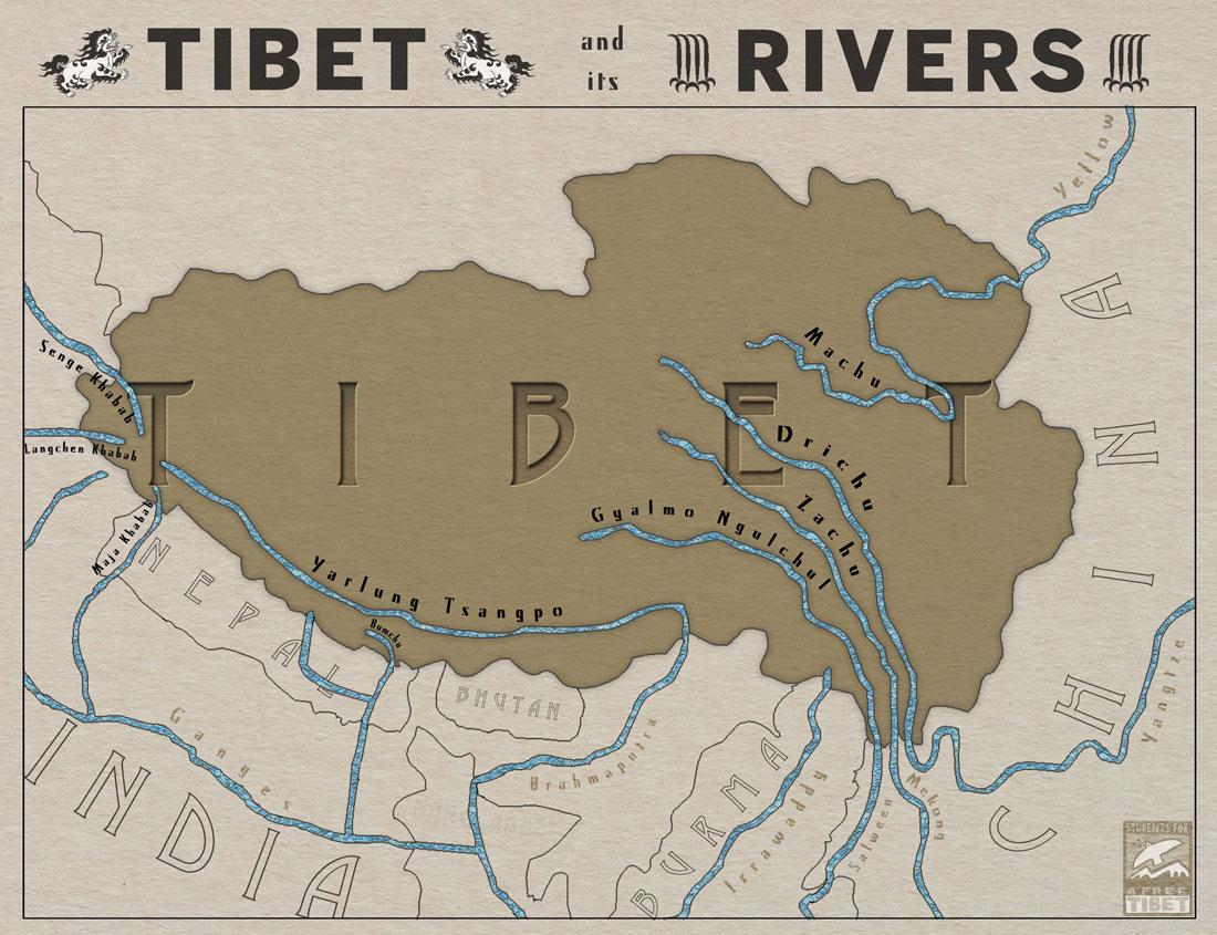 Map Major Rivers China And Tibet