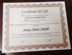Certificate of Life The Certificate of Life is a beautiful acknowledgment of your child s life   Certificates are printed on delicate parchment paper with gold embossment
