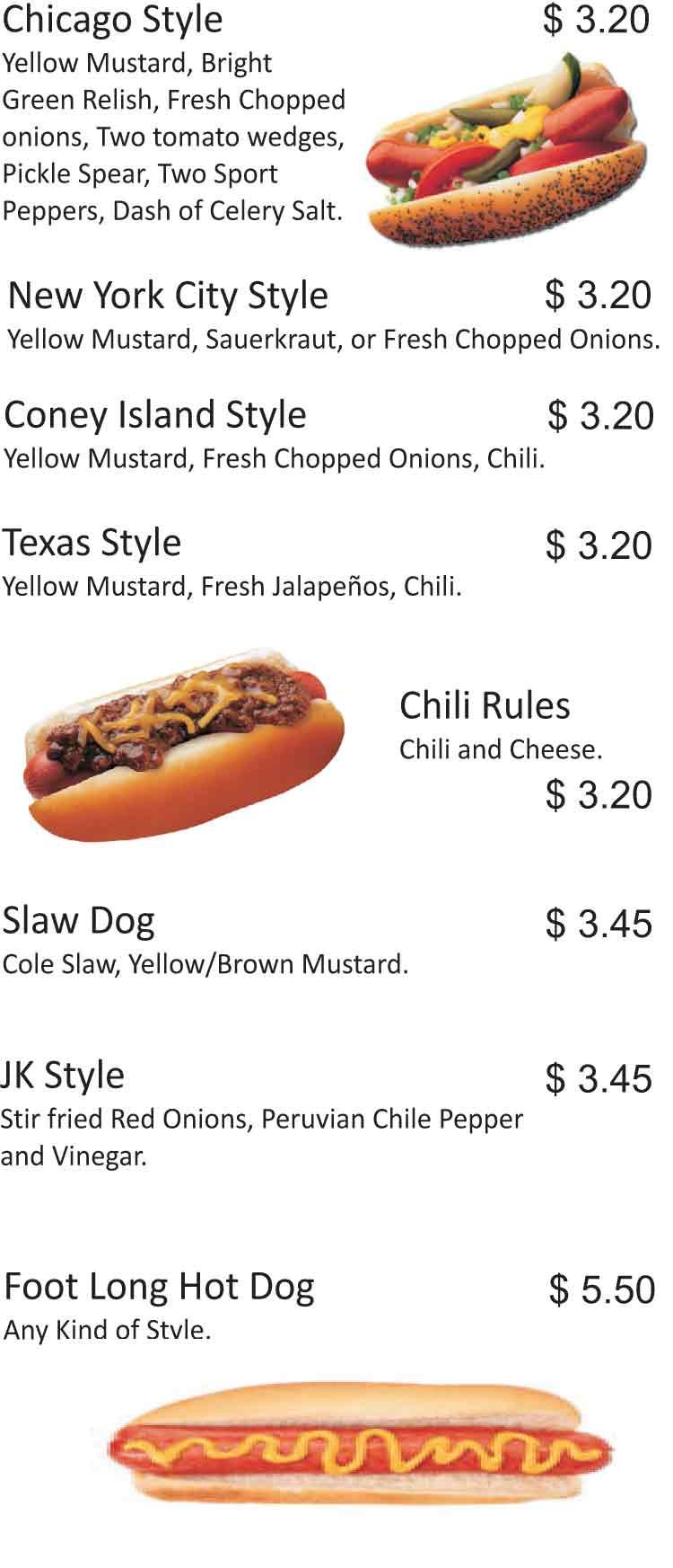 Jk S Chicago Hot Dogs Amp Beef Sandwiches Restaurant Menu