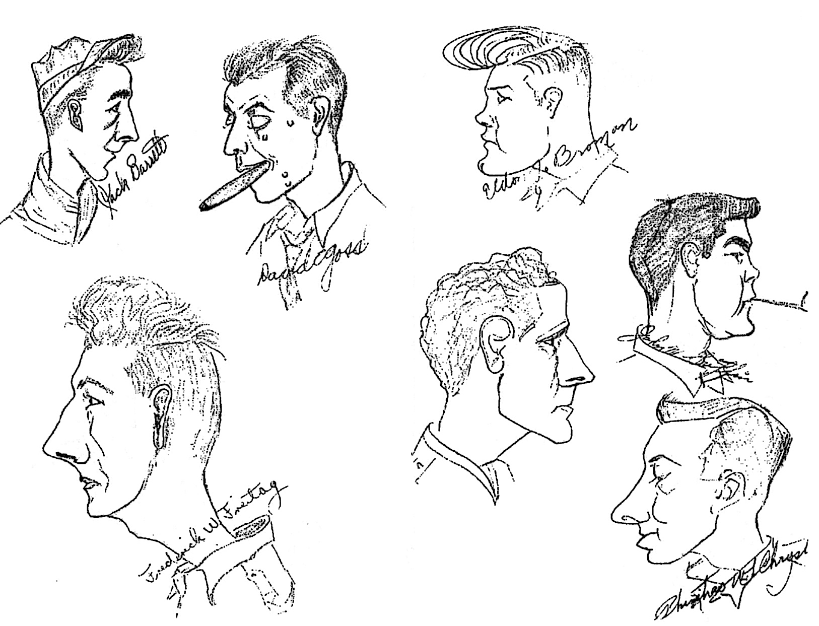 Sketches of men in room 2