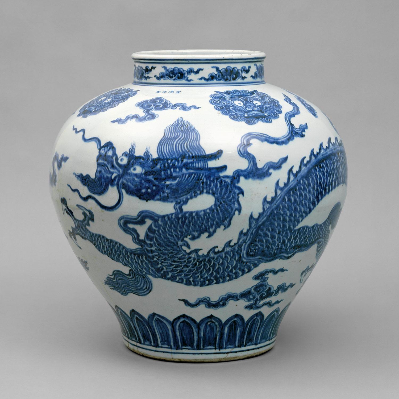 Blue And White Vase Dragons