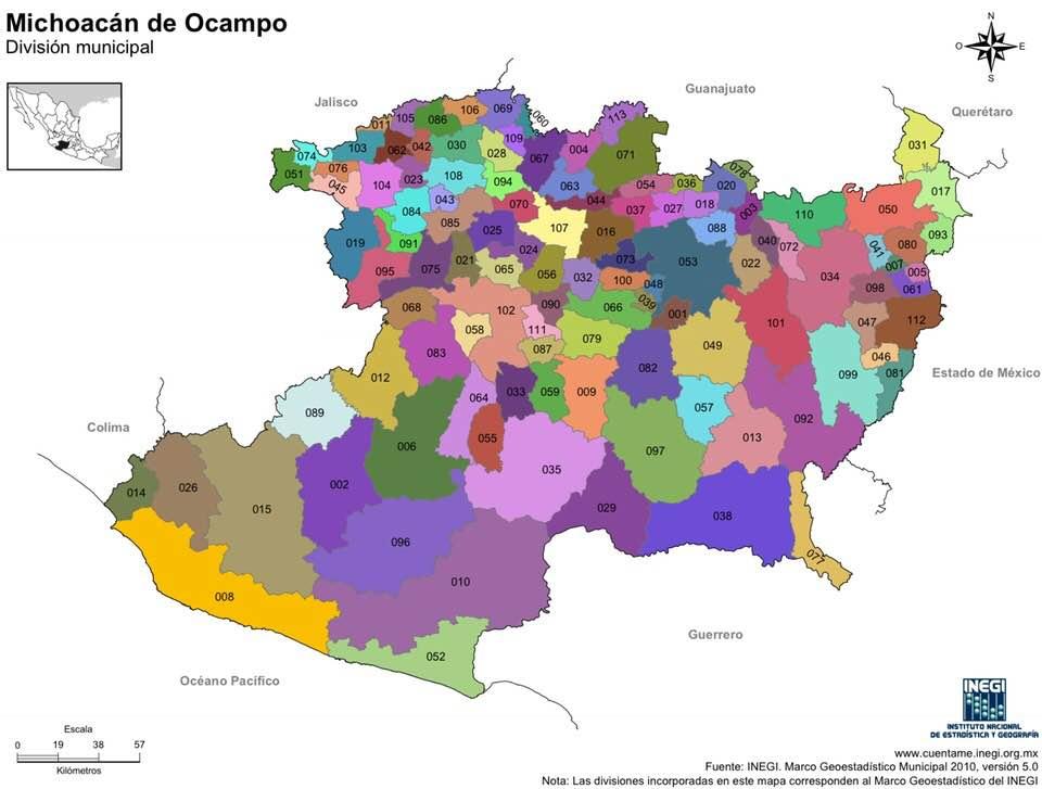 Mapa De Michoacan Y Municipios