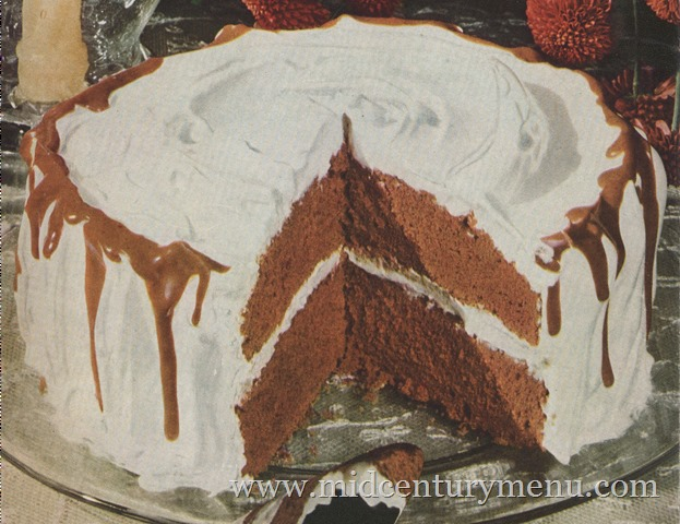Chocolate Icicle Cake With Fluffy White Frosting 1948