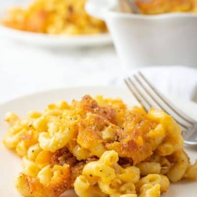 The Best Mac and Cheese on a plate being served for dinner