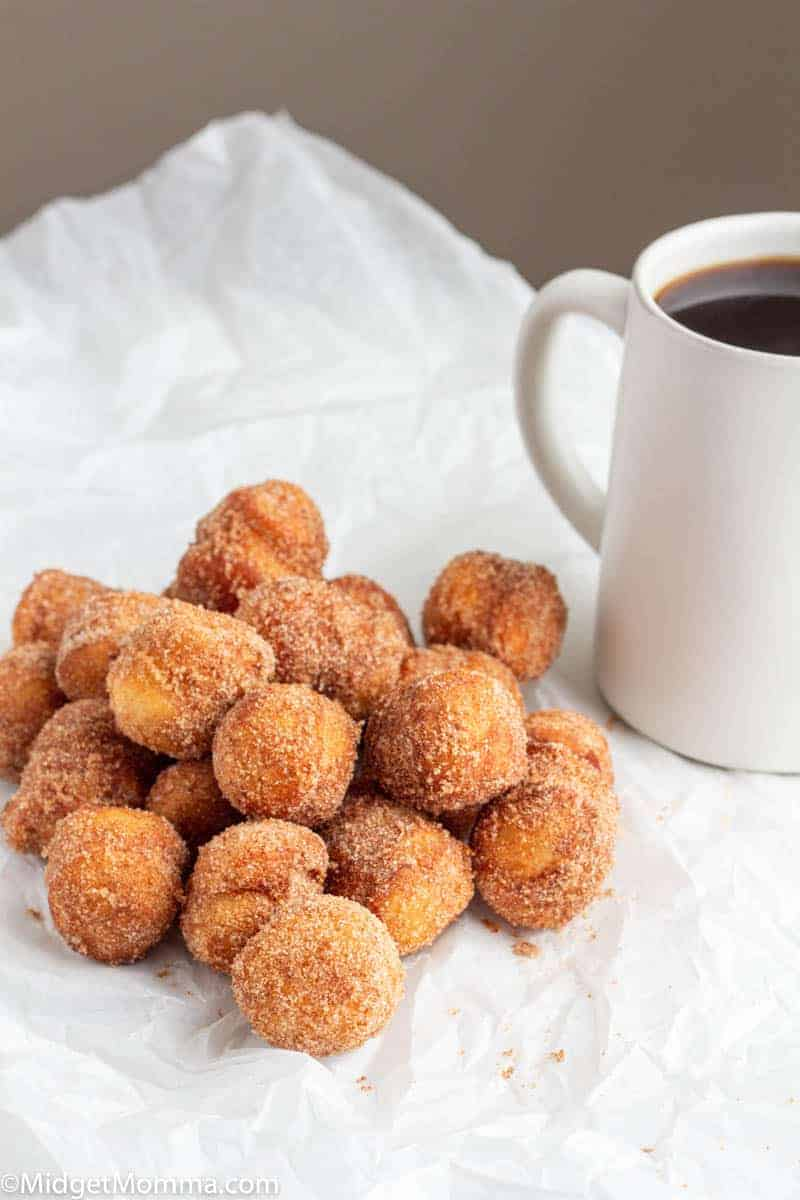 Cinnamon Sugar Donut holes made with biscuits on a plate