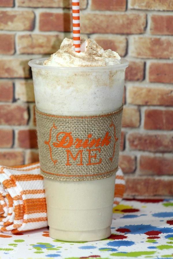Starbucks copycat cinnamon roll frappuccino recipe in a disposable frap cup