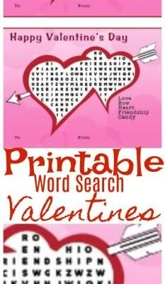 Printable Word Search Valentines
