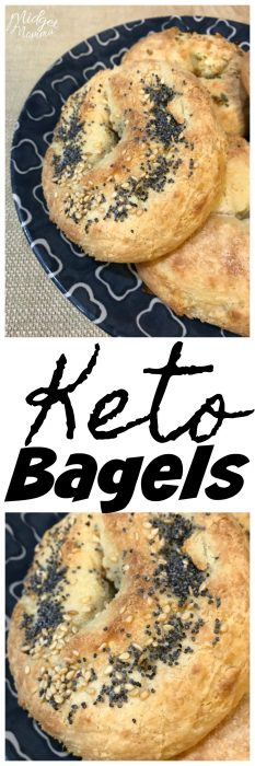 Easy Keto Bagels - These low carb bagels are easy to make and are perfect for Keto. Made with mozzarella cheese, almond flour and a few other ingredients you don't have to miss out on your bagels while eating Keto or Low Carb! #Keto #KetoDiet #Bagels #LowCarb