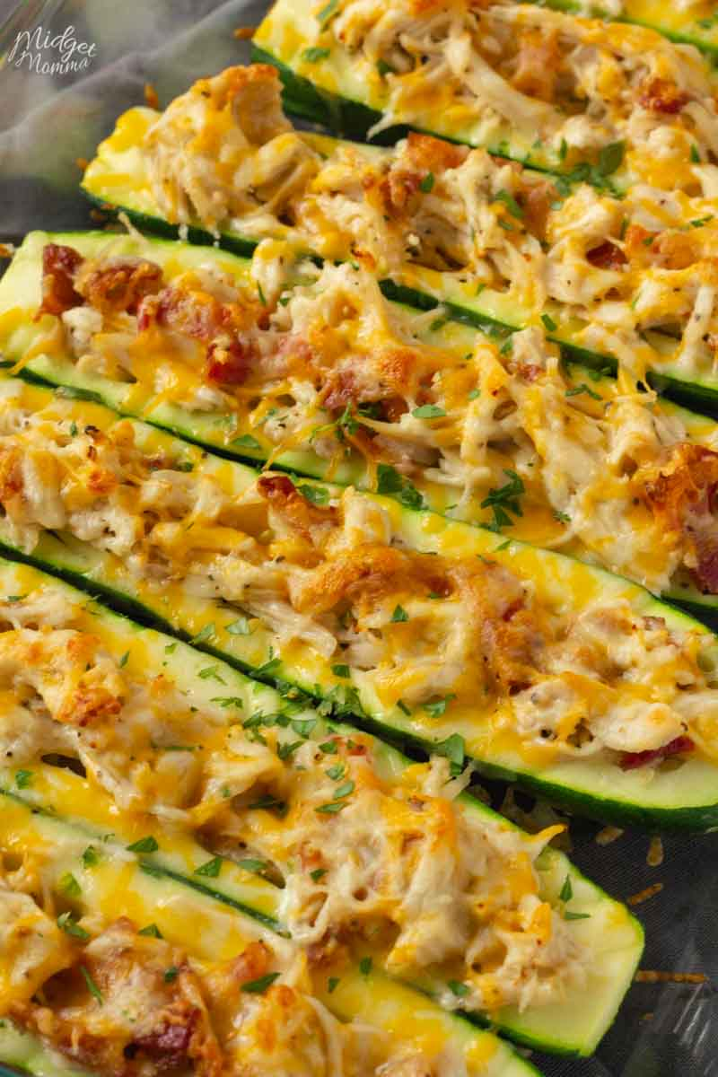 Low Carb Zucchini Boats on a baking sheet