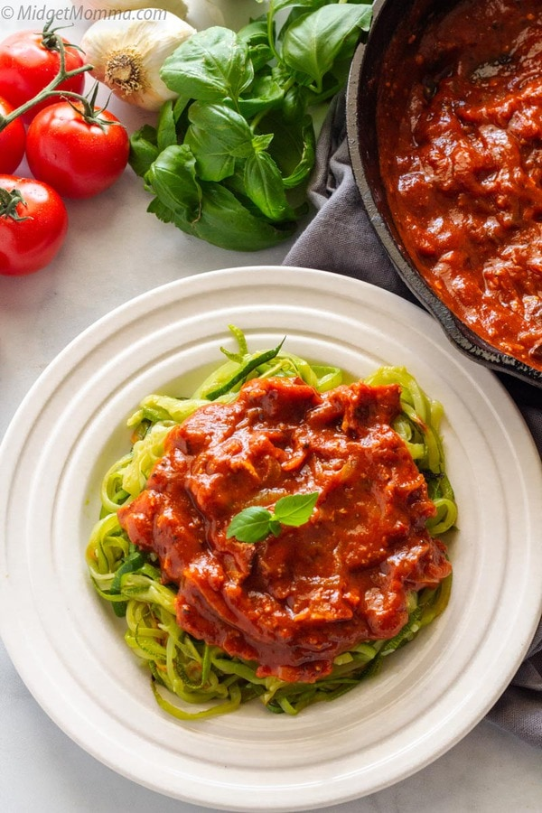 Zoodles with Spicy Bacon Tomato Sauce