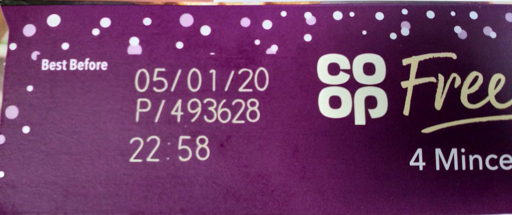 2019 Co-op Free From 4 Mince Pies Best Before