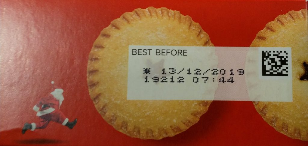 2019 M&S All butter Mince Pies Best Before Date