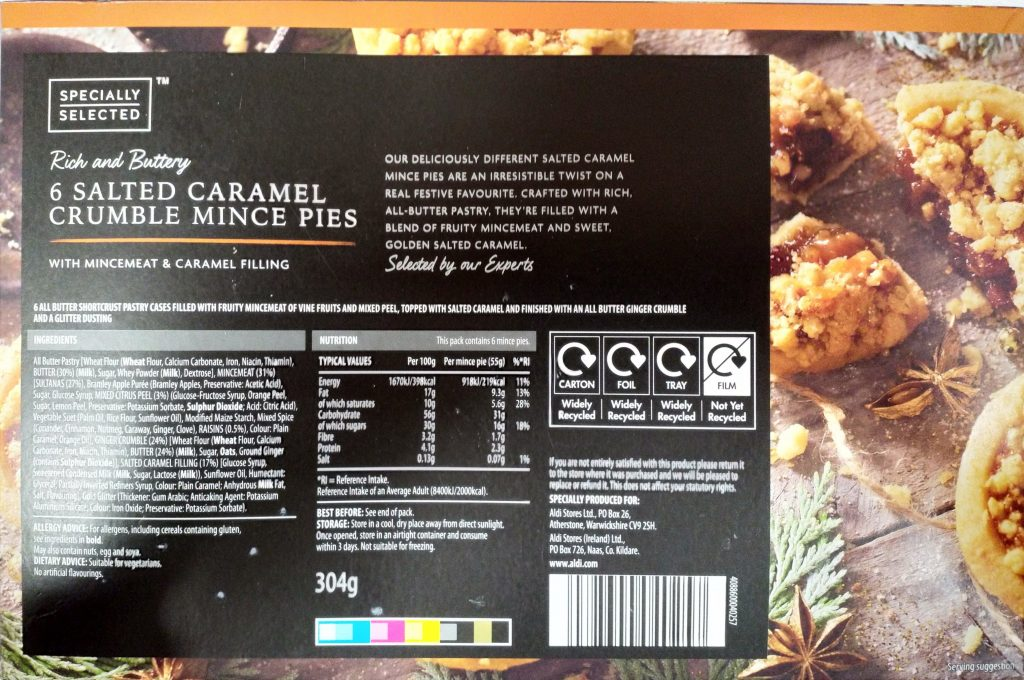2019 Aldi Specially Selected Salted Caramel Crumble Mince Pies Box 2