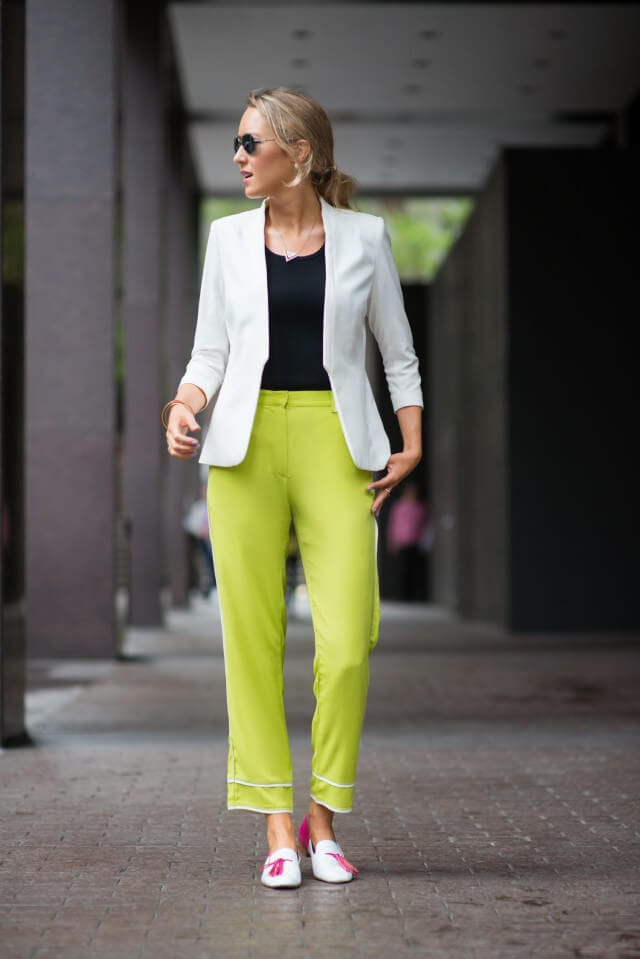 woman with Lime green pant