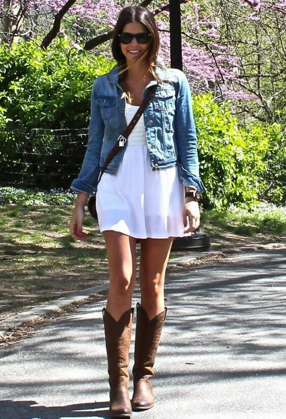 a girl with denim jacket and boot