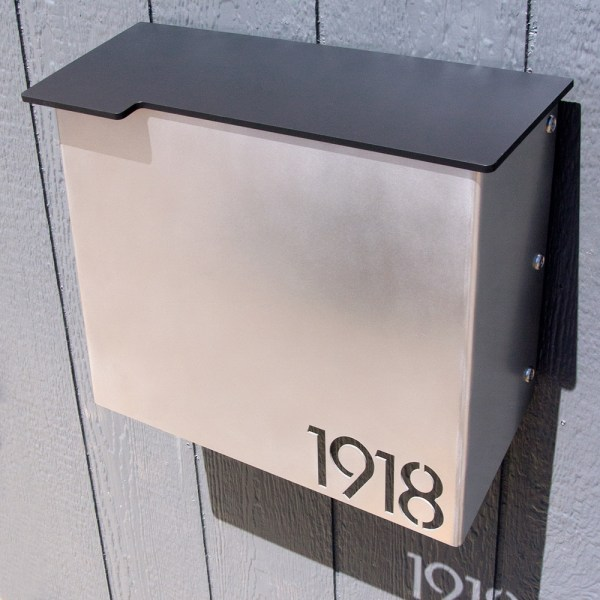 Custom House Number Mailbox No  1711 Modernist Wrap front Stainless     Custom House Number Mailbox No  1711 Modernist Wrap front Stainless Edition