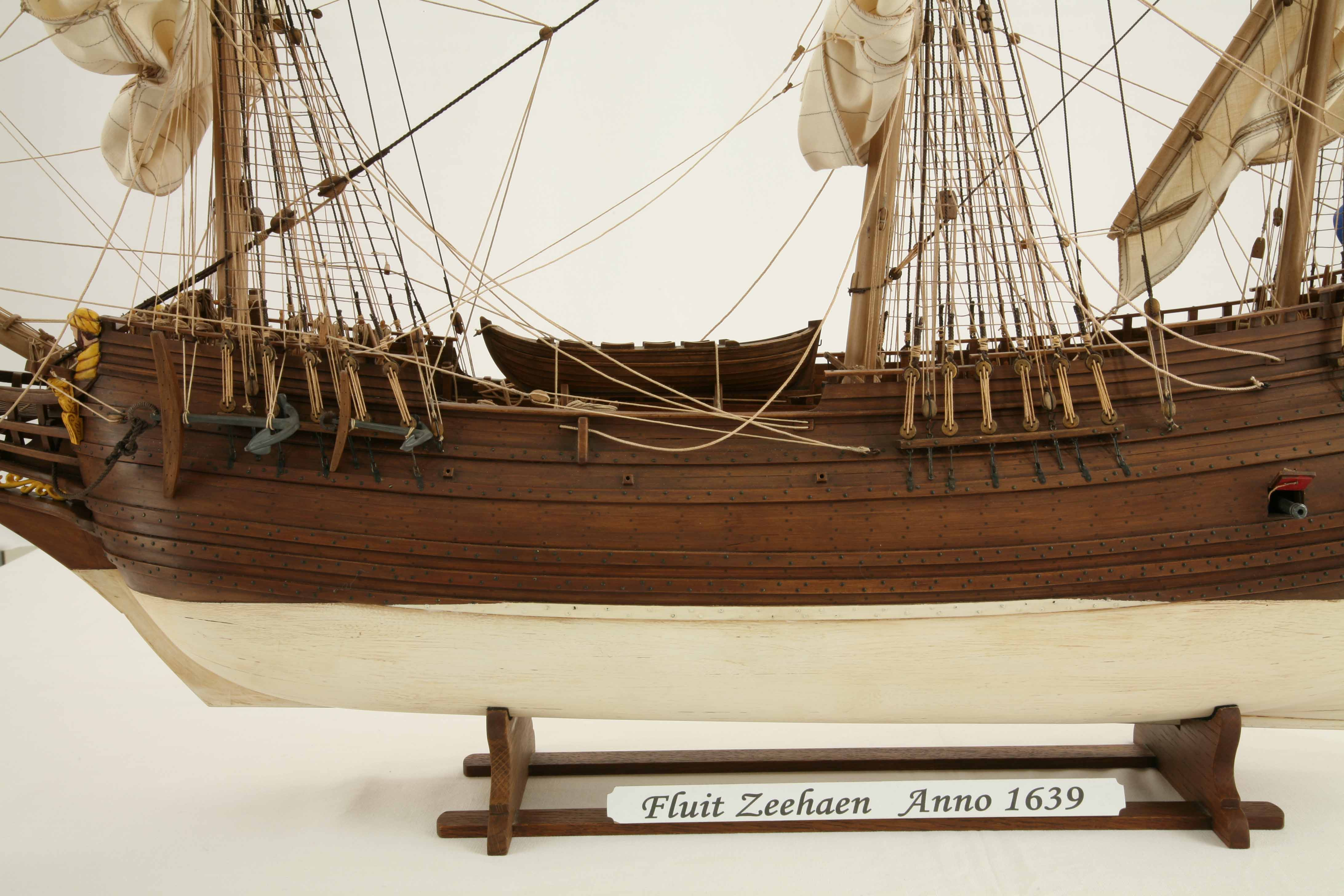 Close Up Photos Of Ship Model Dutch Fluyt Zeehaen Of 1639