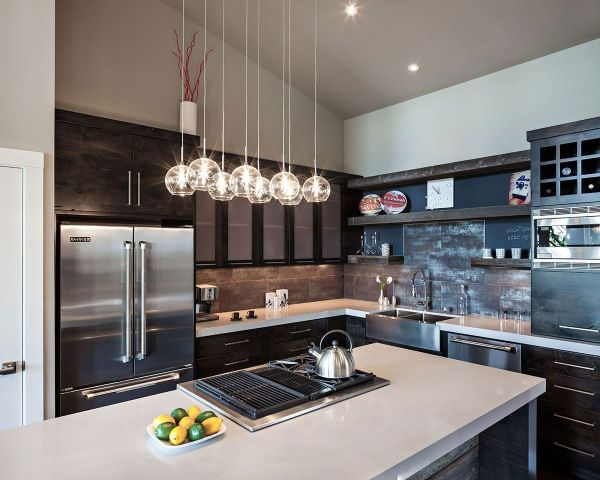 hanging lights over a kitchen island # 15