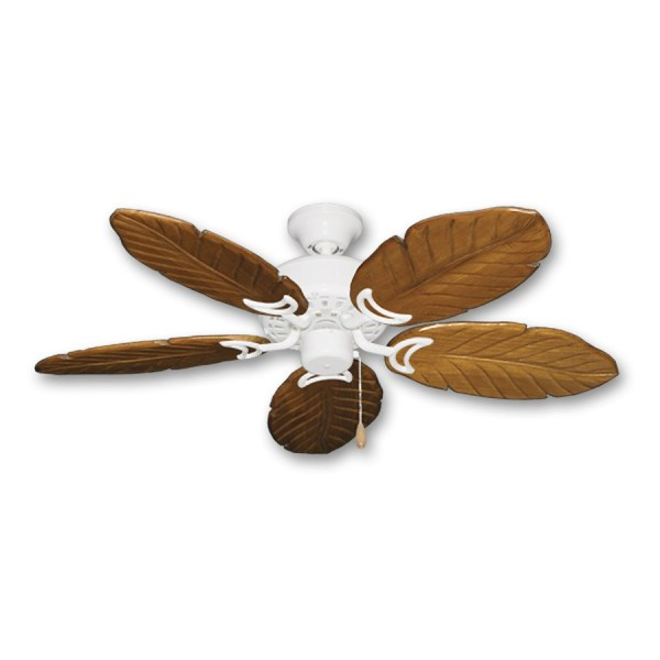42  Outdoor Tropical Ceiling Fan Pure White Finish   Treated Solid     42  Dixie Belle 150   Oak Carved Wood Leaf Blades