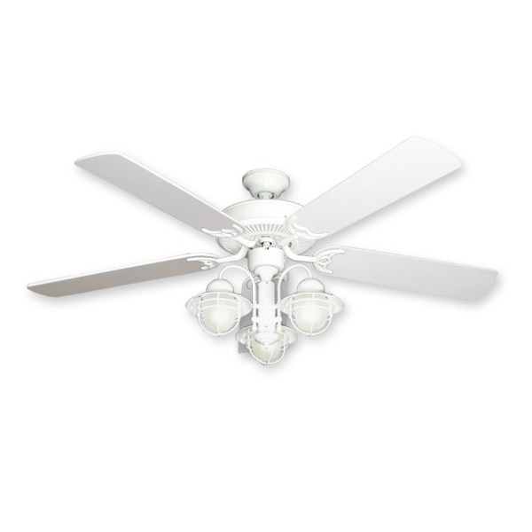 52  Nautical Ceiling Fan with Light   Pure White Finish   Unique     52  Beachfront Nautical Ceiling Fan   Pure White Finish