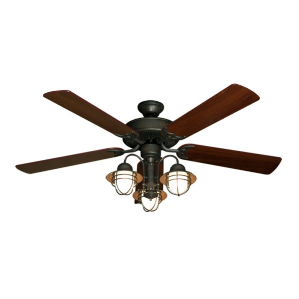 52  Nautical Ceiling Fan with Light   Oil Rubbed Bronze   Unique Styling 52  Beachfront Nautical Ceiling Fan   Oil Rubbed Bronze   Walnut Blades
