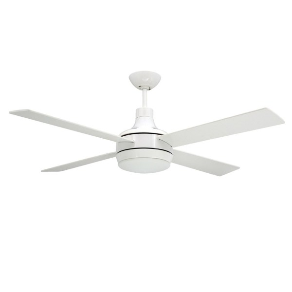 Quantum Ceiling by TroposAir Fans  Pure White Finish With Optional         52  Quantum Modern 4 Blade Ceiling Fan by TroposAir   Pure White  light  optional