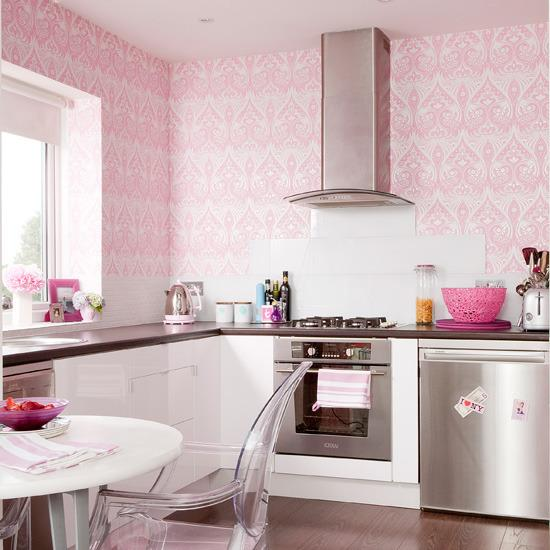 Stylish Pink Kitchen Decoration Ideas     Home Decorating  Interior     Stylish Pink Kitchen Decoration