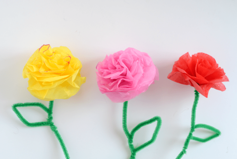 DIY Tissue Paper Flowers These tissue paper flowers are so pretty  Make a bunch for your Spring  table decor  Give a bouquet to friends and family