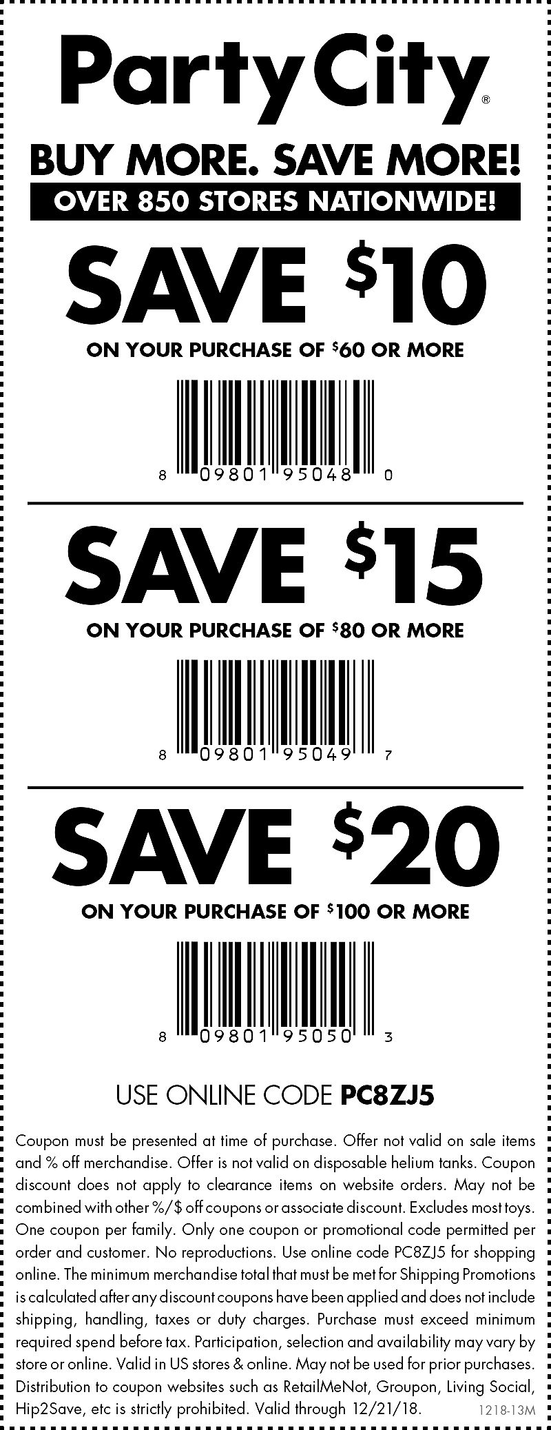 party city printable coupons 2013