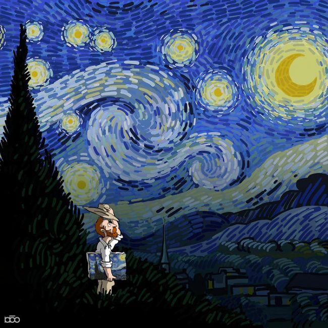 Κοιτώντας τα κόμικς του Moghaddam, ο θεατής δε νιώθει απελπισία και φόβο. Αντιθέτως, γεμίζει με θαυμασμό και αγάπη για έναν καλλιτέχνη-έμπνευση.© Alireza Karimi Moghaddam
