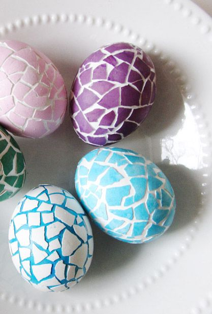 Mosaic Easter Eggs © Say Not Sweet Anne