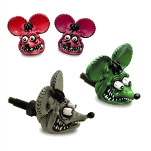 Rat Fink Head License Plate Bolts Gray Green Pink And