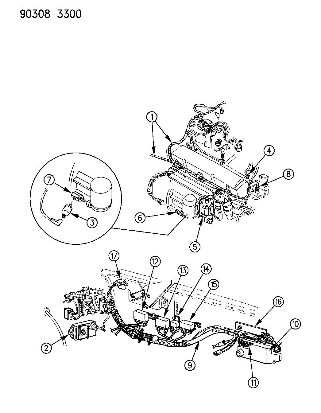 Wiring engine front end related parts d models 8 cylinder