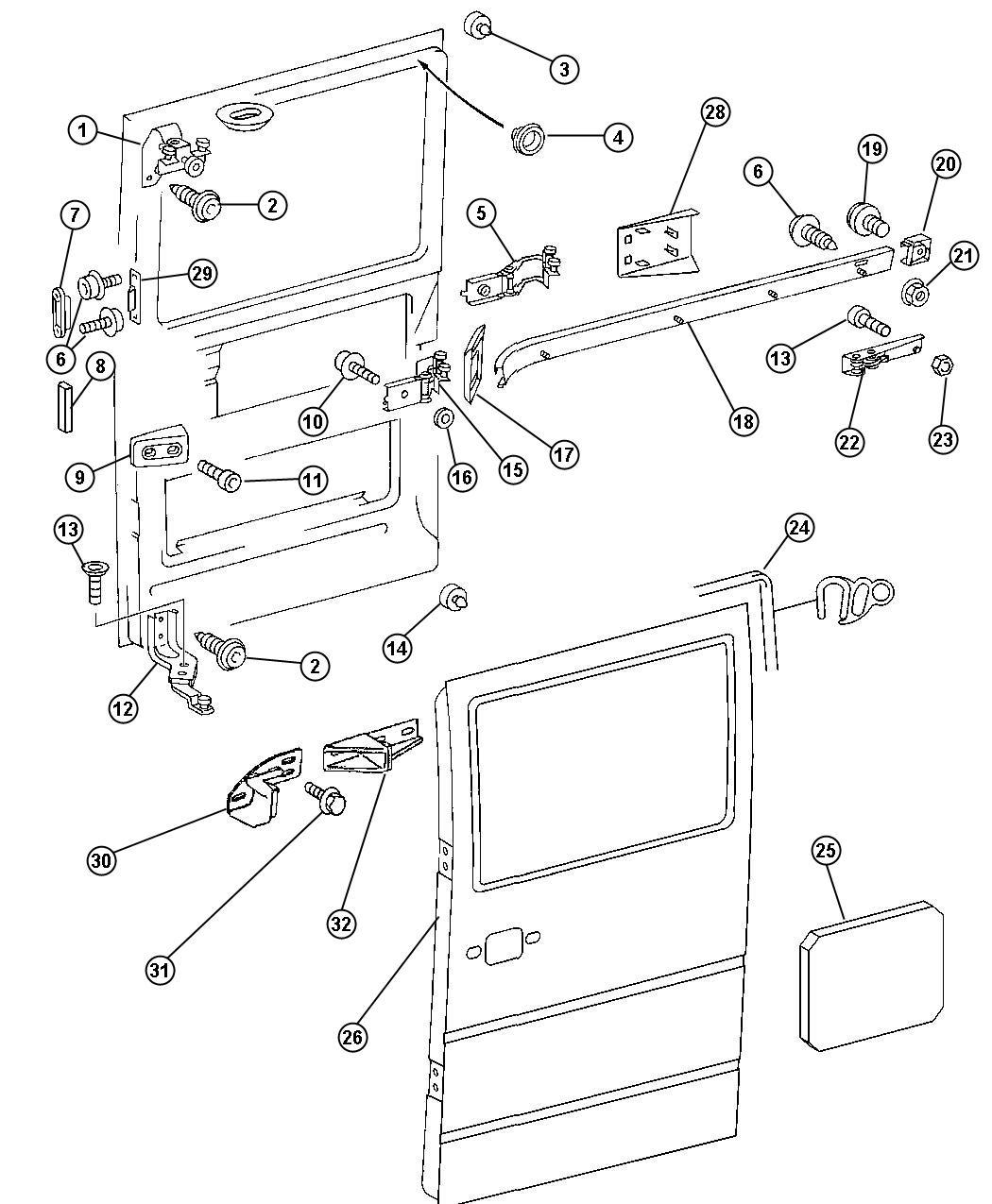 Dodge ram van sliding door parts photos