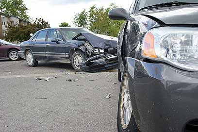 Road accident, crashed cars