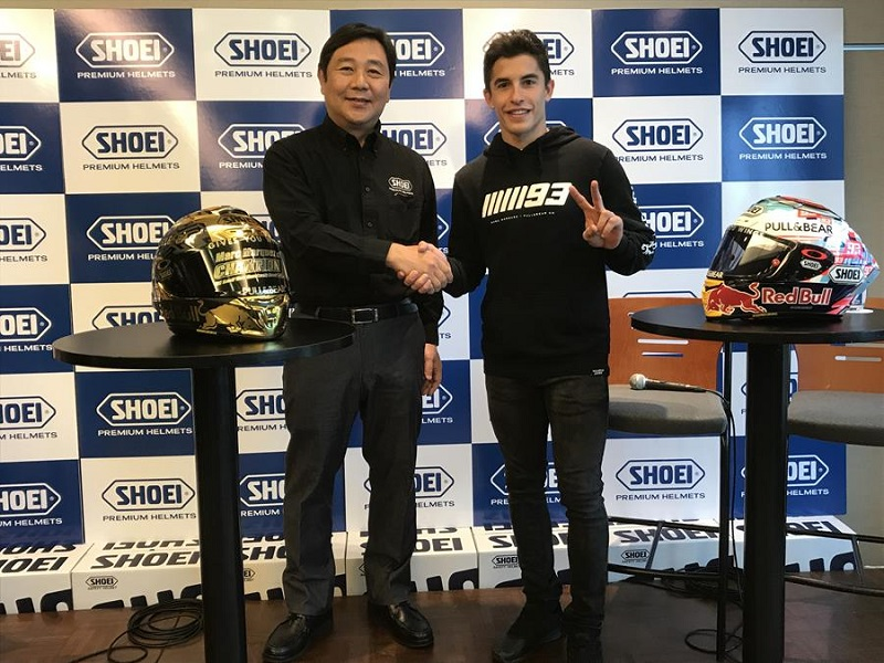 Shoei and Marquez Extend Partnership      MotorcycleDaily com     June 15  2018     SHOEI is ecstatic to announce the extension of its  partnership with 6 time and reigning MotoGP World Champion Marc Marquez for  another two
