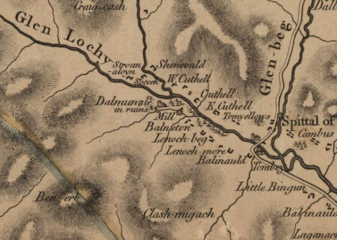 Stobie Map 1783   Spittal of Glenshee and Dalmunzie Area   Mount     Stobie Map 1783