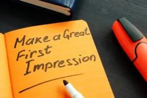 Make A Great First Impression Handwritten In The Note.