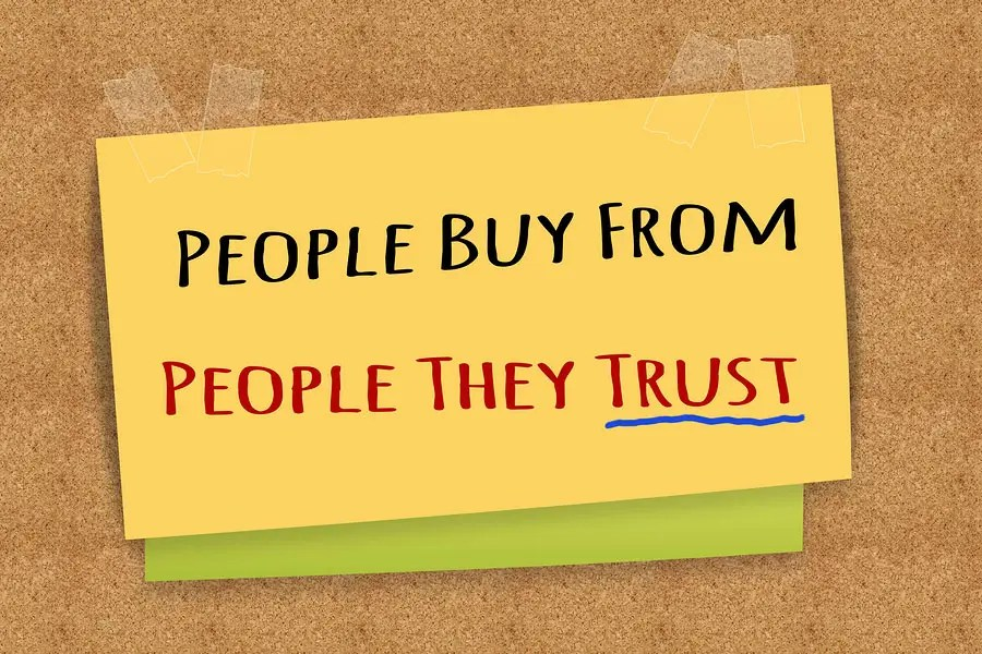 people buy trust stick note