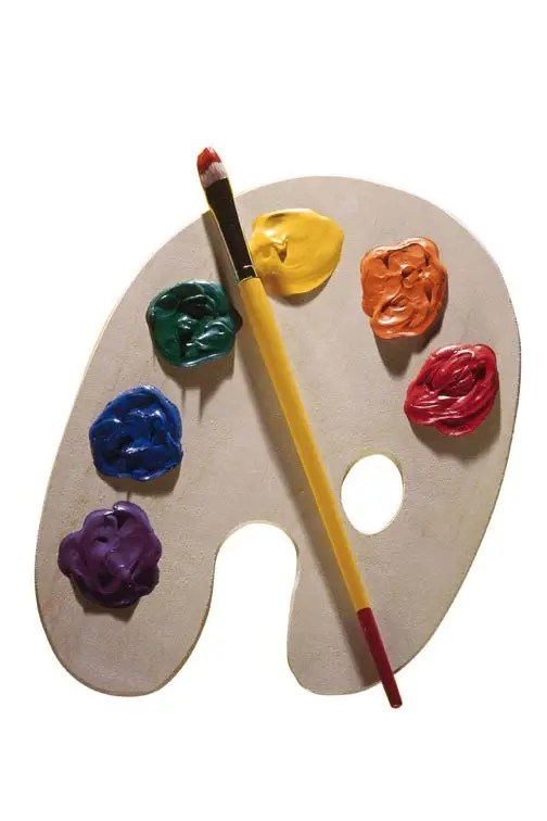easel with paints